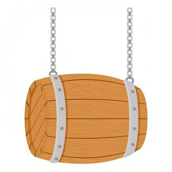 Дизайн изображения значка деревянная бочка