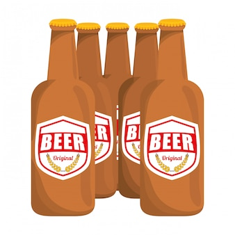 Коричневые бутылки пива значок изображения