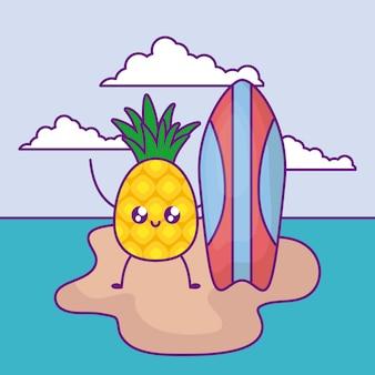 Летний плакат с ананасом и доской для серфинга на острове