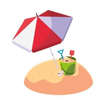 傘と砂のバケツのおもちゃの夏のビーチ