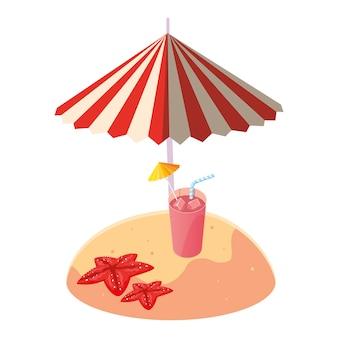 夏の砂のビーチ、傘とカクテル