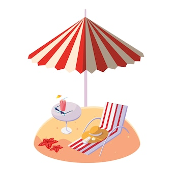 夏の砂のビーチ、傘と椅子