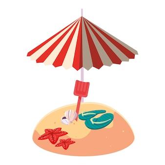 夏の砂のビーチパラソルとフリップフロップ