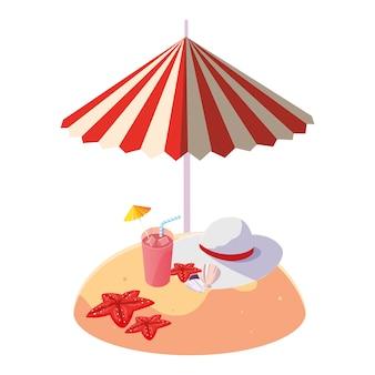 夏の砂のビーチの傘と女性の帽子