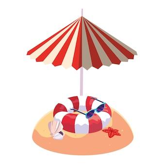 夏の砂浜の傘とフロート