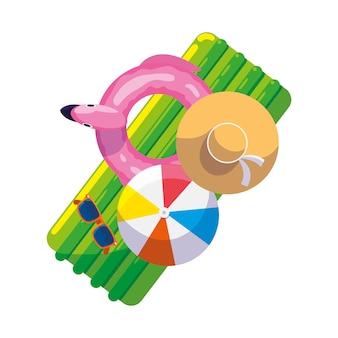 Летний поплавок с воздушным шаром и шляпой
