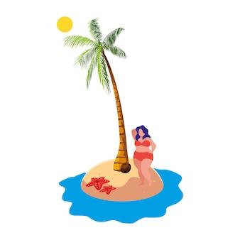 ビーチの夏のシーンに若い大きな女性