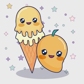 かわいいマンゴーとアイスクリーム
