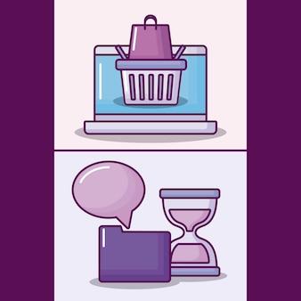 Установите портативный компьютер с электронными бизнес иконы