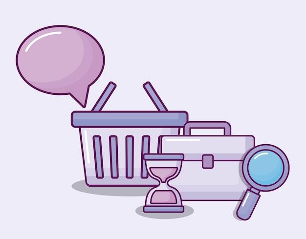 セットアイコン経済と買い物かご