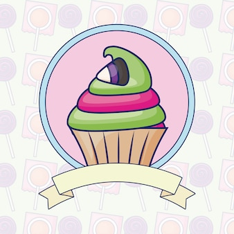 リボンとおいしい甘いカップケーキ