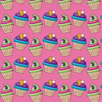 キャンディーパターンと甘いカップケーキ