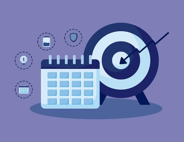 Календарь с набором иконок экономики финансов