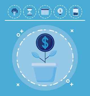 Завод монет с набором иконок экономики финансов