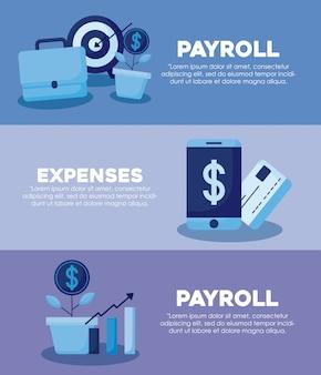 Смартфон с набором иконок экономики финансов