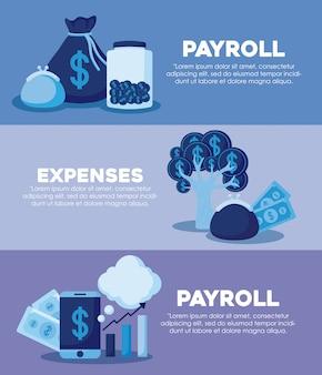 Дерево монет с набором иконок экономики финансов