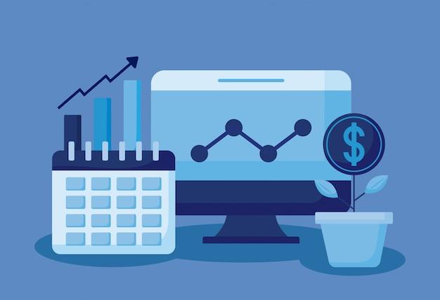Монитор компьютера с набором иконок экономики финансов