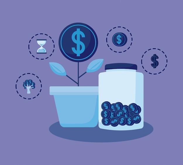 Завод монеты с набором иконок экономики финансов