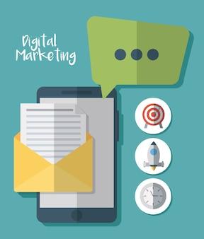 デジタルマーケティング関連のアイコンを備えたスマートフォンデバイス