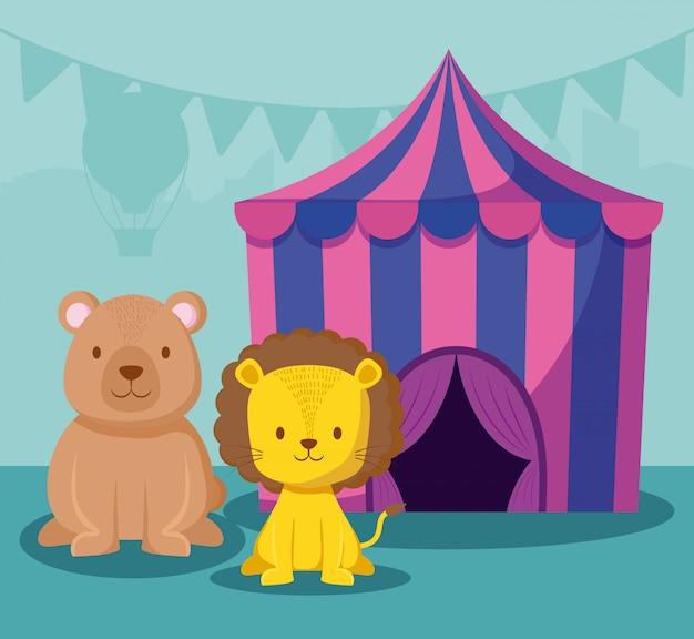 かわいい動物とサーカスのテント