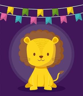 花輪アイコンとかわいいライオン