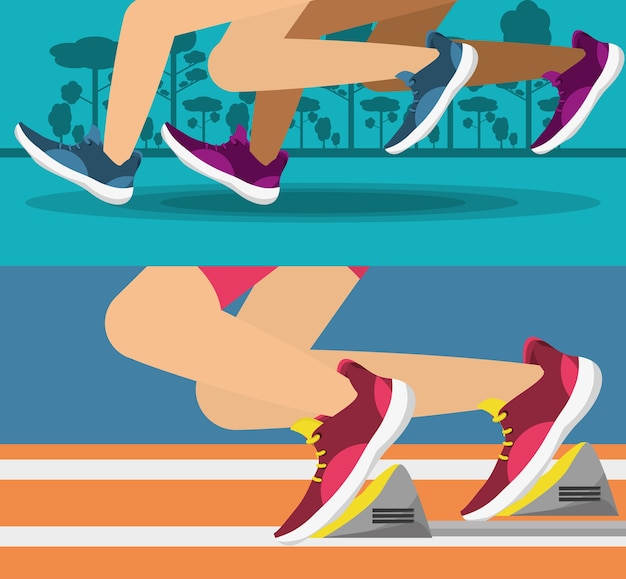 ランニングシューズスポーツ競技の概念を持つ競技者