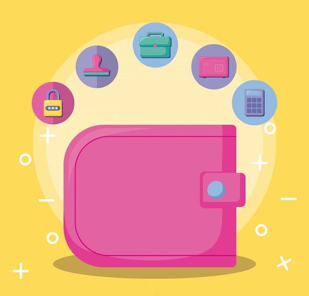 経済と財布のアイコンセットと金融
