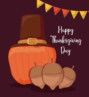巡礼者の帽子と感謝祭のナットとカボチャ