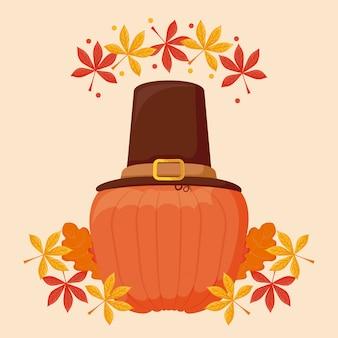 感謝祭の日の巡礼者の帽子とカボチャ