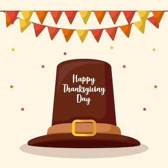花輪と感謝祭の日の巡礼者の帽子