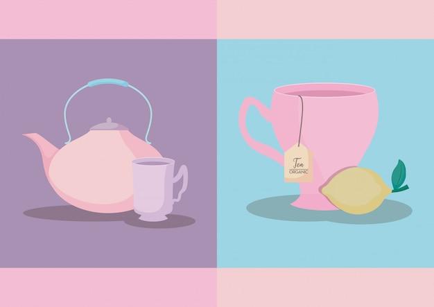 レモンのティーカップとティーポット