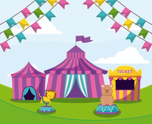 花輪とかわいい動物のサーカスのテント