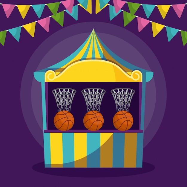 ゲームや花輪のサーカスのテント