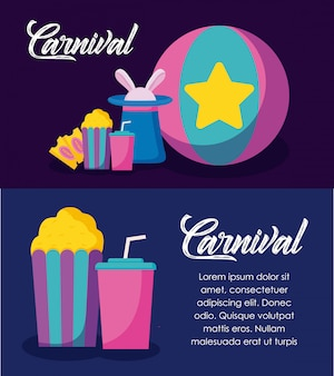 Празднование карнавала инфографики иконы