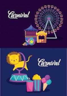 カーニバルのお祝いのインフォグラフィックアイコン