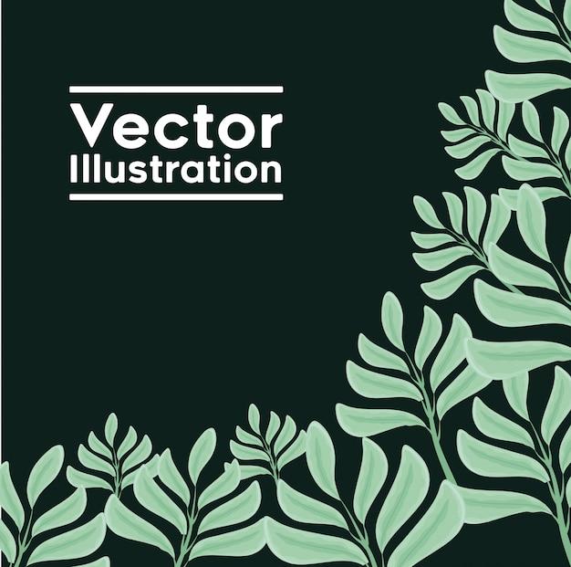 装飾的なフレームと葉の植物のパターン