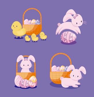 かわいいウサギとイースターの鶏のセット