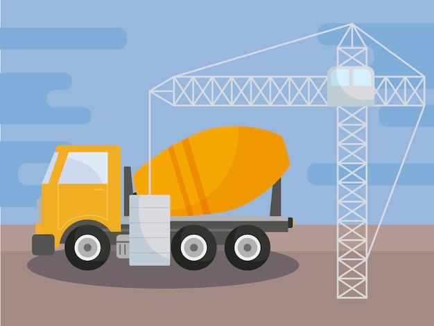 建設中のコンクリート輸送トラック