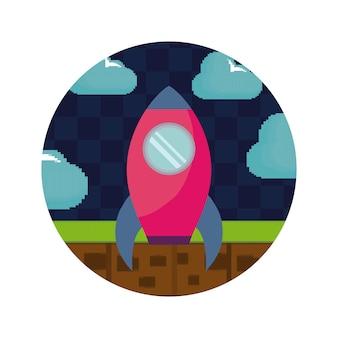 ビデオゲームのピクセル化されたロケットアイコン
