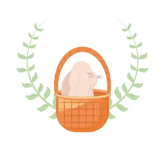 Милый кролик в плетеной корзине с короной из листьев