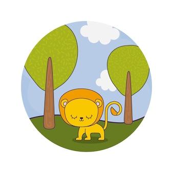 Милый лев животных в ландшафте
