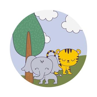 Милый слон с тигром в ландшафте
