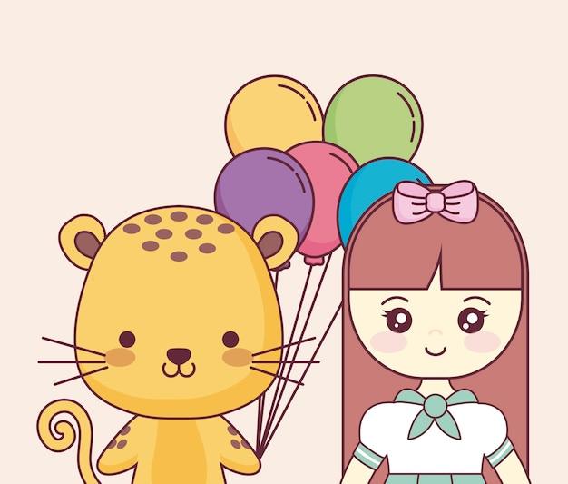 かわいい人形の誕生日おめでとうカード