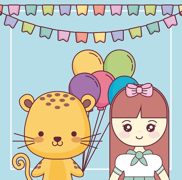 小さな女の子の誕生日カードでかわいい虎