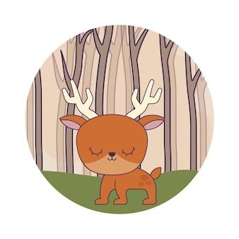 森のシーンでかわいいトナカイ動物