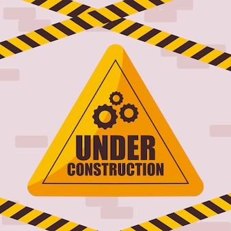 Под строительство этикетка с осторожностью ленты