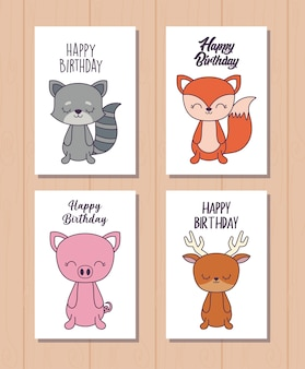 かわいい動物との幸せな誕生日カードのセット