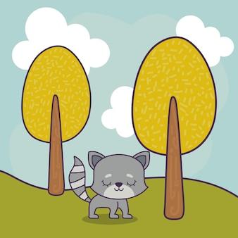 Милый кот в пейзажной сцене