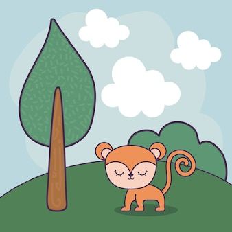 Милая обезьяна в пейзажной сцене