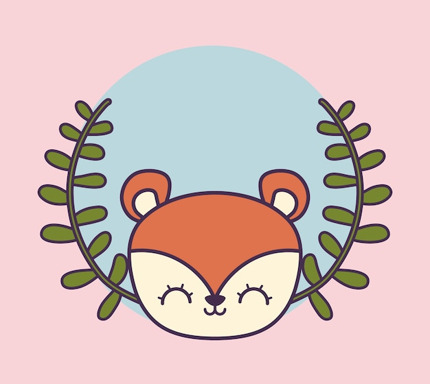 Голова милого бурундука в короне листьев